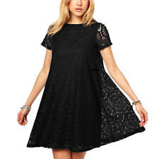 Women Round Neck Short Sleeves Casual Lace Tunic Tops