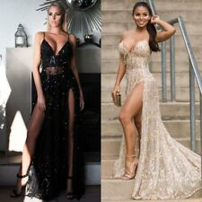 Women Deep-V Neck Sequined Patchwork Sexy Backless Maxi Party Club Long Dress