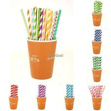 25PCS Biodegradable Paper Drinking Straws Striped Birthday Party Wedding WST