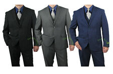 Quality Sharp 3pc Men Pinstripe Dress Suit - Sz 36-62 tb48 $259+