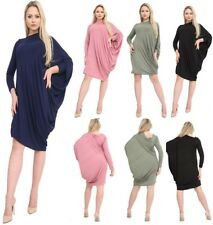Womens Batwing Side Ruched Top Ladies Off The Shoulder Bardot Dress Plus Size UK