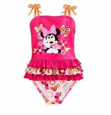 NWT Disney Store Minnie Mouse Clubhouse Ruffled Swimsuit Girls Size 5/6