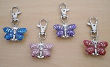 NEW LADIES/GIRL'S/NURSES BUTTERFLY KEYRING/KEY CHAIN PENDANT POCKET FOB WATCH