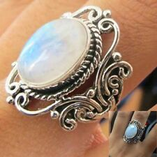 Vintage Women Jewelry 925 Silver 4.8Ct White Opal Wedding Engagement Ring Sz6-10