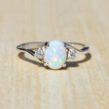 2.3Ct Opal Women 925 Silver Ring Fashion Gift Wedding Party Jewelry Size 5-11