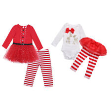 Kids Baby Girls Christmas T-Shirt Top Dress+Long Stripe Pants Outfit Set Clothes