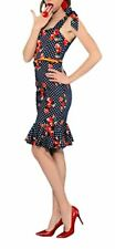 1950s Pinup Vintage Rockabilly Polka Dot Mermaid Wiggle Fitted Party Dress