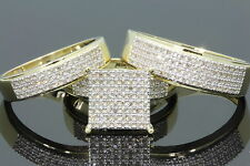 14K Yellow Gold His And Her Diamond Engagement Bridal Wedding Band Trio Ring Set
