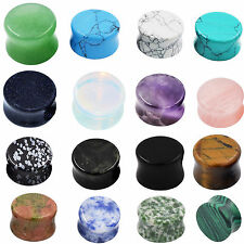 Pretty Fashion Natural Stone Plugs Organic Double Flare Ear Gauges Body Jewelry