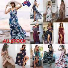 AU Women Boho Floral V Neck Maxi Long Dress Summer Evening Party Beach Sundress
