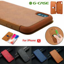 Genuine Leather Wallet Case Card Slot Shockproof Flip Cover for Apple iPhone X 8