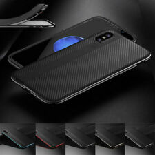 For iPhone X 8 Plating Carbon Fiber Rubber Back Cover+Hard PC Bumper Frame Case