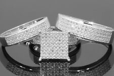 14K White Gold Fn Round Cut Diamond Wedding His & Her Engagement Trio Ring Set