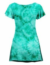 CTC Womens Tie Dye Round Neck Short Ruffle Sleeve Tunic Top - Made in USA