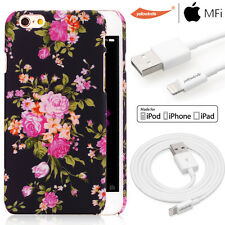3D Floral Hard Slim Case W/MFI Lightning USB Cable For Apple iPhone 6 6s Plus5.5