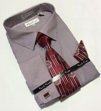 Men's Karl Knox Wine French Cuff Dress Shirt Necktie Hanky Cufflinks Set NEW!!