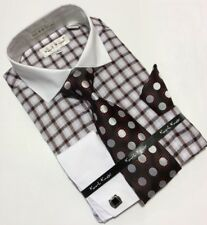 Men's Karl Knox White French Cuff Dress Shirt Necktie Hanky Cufflinks Set NEW!!