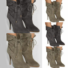 Women Pointed Toe Suede Stiletto High Heel Ankle Strap Boots Lace Up Party Boots
