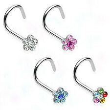 Surgical Steel Nose Screw / Stud with Gem Paved Flower