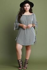 Striped Self-Tie Bell Sleeve Shift Dress