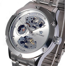 Skeleton Analog Silver Steel Band Mens Mechanical Automatic Wrist Watch New