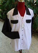 1950's Style Retro Mens Rockabilly Bowling 2 Pocket  Black & White  Gab shirt