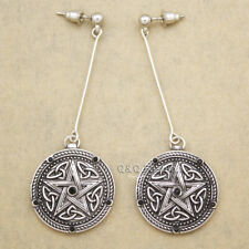 Retro Silver Celtic Pentacle Star Trinity Knot Bar Wicca Pagan Dangle Earrings H