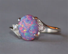 Vintage 2.3Ct Fire Opal Women 925 Silver Ring Fashion  Wedding Party Size 5-11