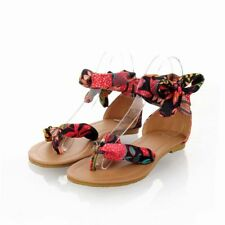 New Womens Synthetic Flat Heels Lace Ups Flower Flip-flops Thong Sandals Shoes