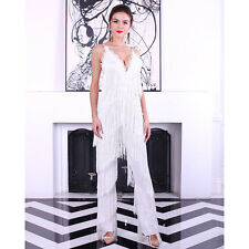 Women sexy sleeveless V-NECK halter lace tassel party cocktail jumpsuits 4661