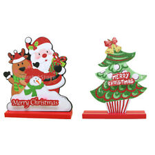 Glitter Foam Wood Santa Ornaments Christmas Tabletop Freestanding Decoration