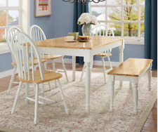 7 Piece Dining Table And Chairs Traditional Wood Home Dinner White Furniture Set