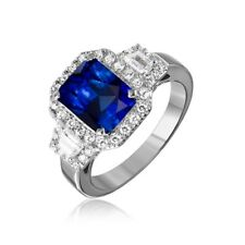 5 Carat Faux Blue Sapphire Cubic Zirconia Sterling Silver Halo Ring