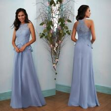 Long Blue Lace Chiffon Mother of the Bride Dress  A Line Sleeveless Floor Length