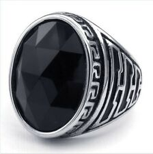 New Mens Silver Plated Stainless Steel Ring Inlay Black Stone US Size 8