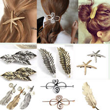 Women Vintage Hair Clip Barrette Bobby Pins Feather/Leaf/Starfish Shape Jewelry
