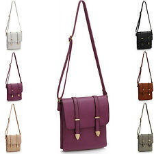 Medium Buckle Women Cross Body Bag Faux Leather Ladies Shoulder Handbag Satchels