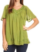 Sakkas Emma Crinkle V-neck Short Sleeve Top Blouse with Embroidery and Sequin