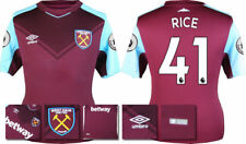 17 / 18 - ADIDAS ; WEST HAM HOME SHIRT SS + PATCHES / RICE 41 = KIDS
