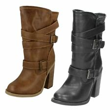 SPOT ON F5929 LADIES BLACK PULL ON CASUAL MID CALF LENGTH CHUNKY HEEL BOOTS SIZE