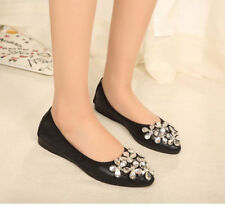 Womens Foldable Soft Ballet Flats Rhinestone Comfort Slip on Flat Shoes