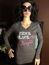 Thick Black & Boujee Juniors Graphic Thermal T-Shirt NWT
