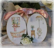 "A set of 2 ""Vintage Bathroom"" Shabby Chic Country Cottage style Wall Decor Sign"