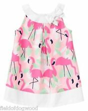 NWT Gymboree Fruit Punch Girls Flamingo all over dress 12 18M