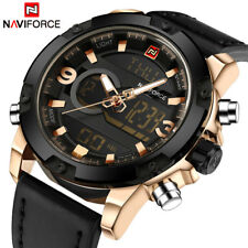 Men Sports Leather Army Military Wrist Watch Led LCD Fashion Casual Chronograph