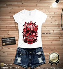 Flowers Skull Shirt Cool Womens Graphic TShirt Floral Flowers Tank Top WD281