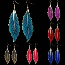 Women Charm Simple Colorful Leaf Shape Drop Dangle Hook Earrings Fashion Gift
