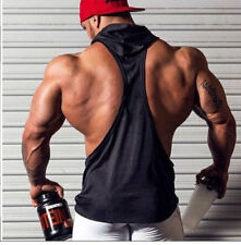 New Men's Hooded Gym Bodybuilding Vest Tank Tops Muscle Fitness Shirt Clothes