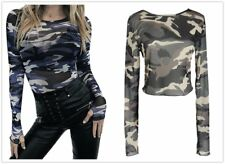 Camouflage Womens Casual Round Neck Cotton Blend Long Sleeve Blouse Shirts