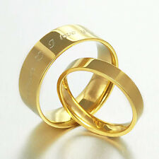 GOLD YOUR WORDS Engrave Wedding Engagement Bands Titanium Couple Ring Set Sz4-15